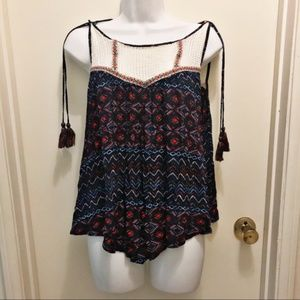 DEMOCRACY Colorful Tribal Tank with Side Tassels M